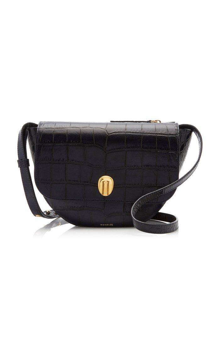 Billy Croc-Effect Leather Shoulder Bag