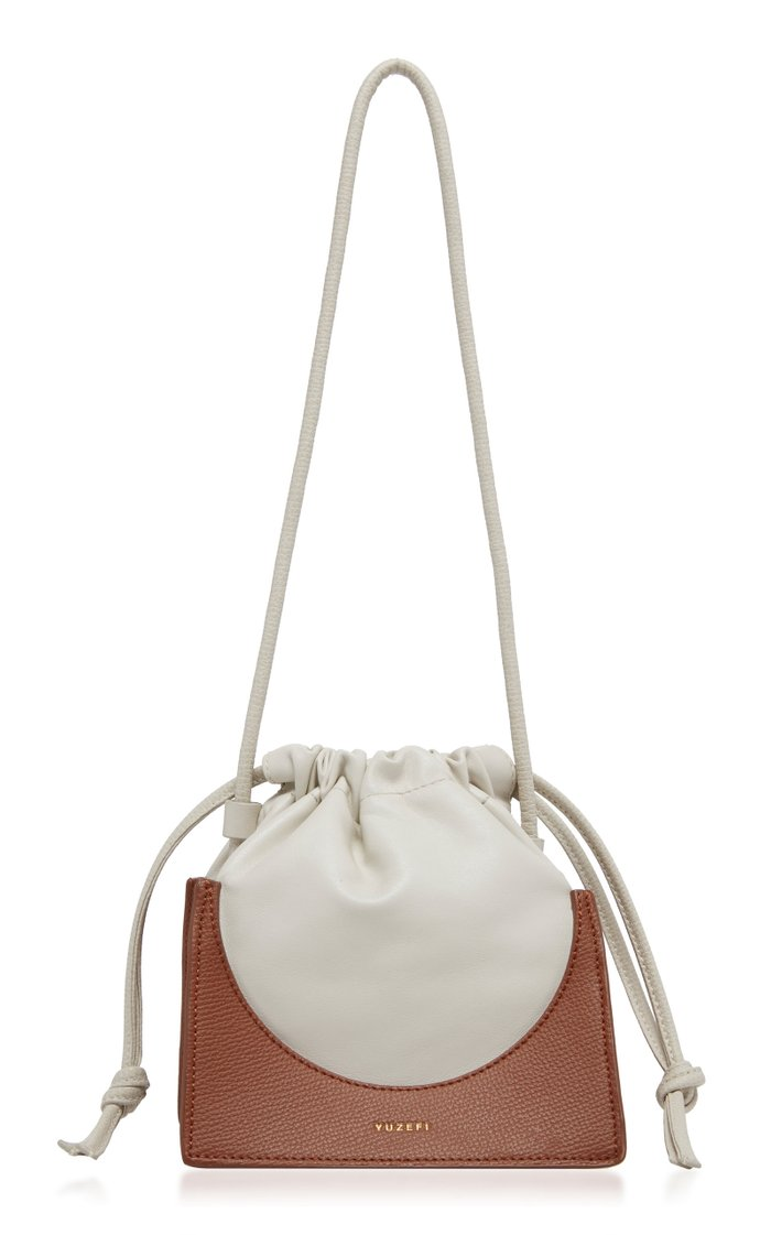 Pouchy Two-Tone Leather Bucket Bag