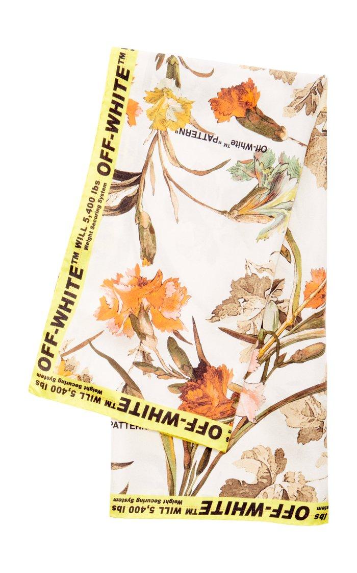 Logo-Trimmed Floral-Print Silk Scarf