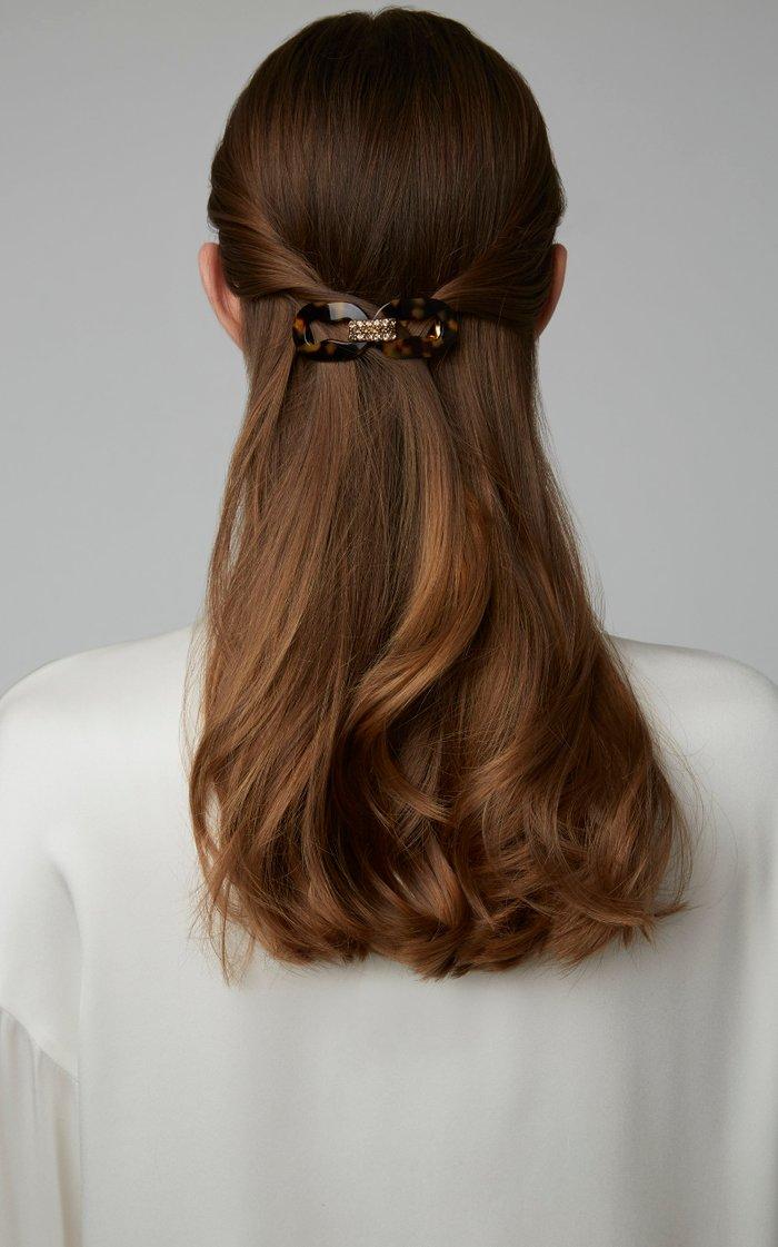 Crystal-Embellished Tortoiseshell Acetate Hairclip