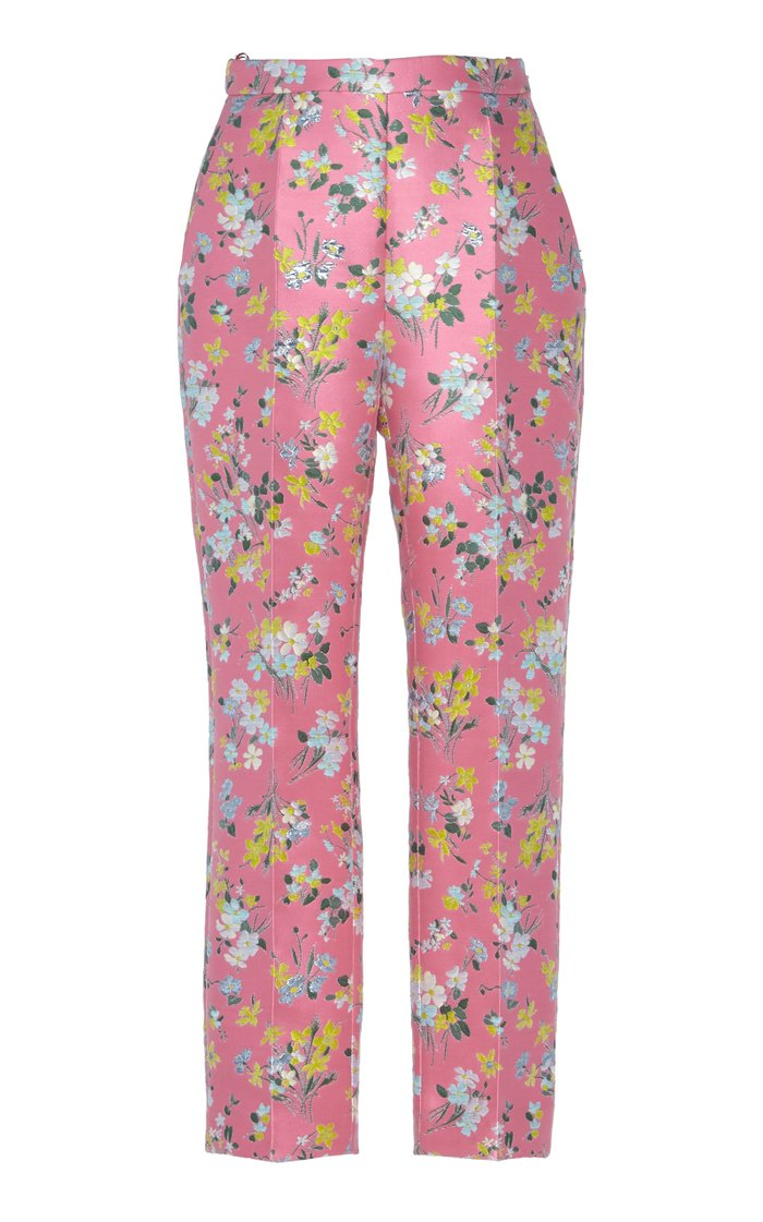 Floral-Detailed Satin-Jacquard Slim Leg Pants