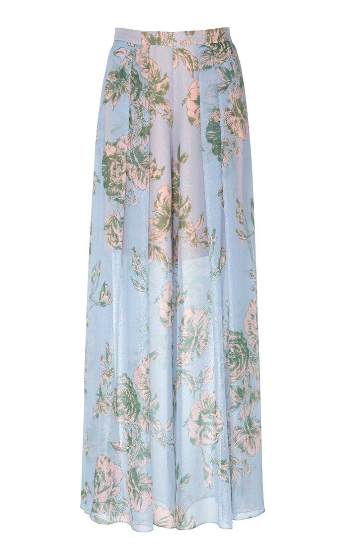 Floral-Print Silk-Chiffon Wide Leg Pants
