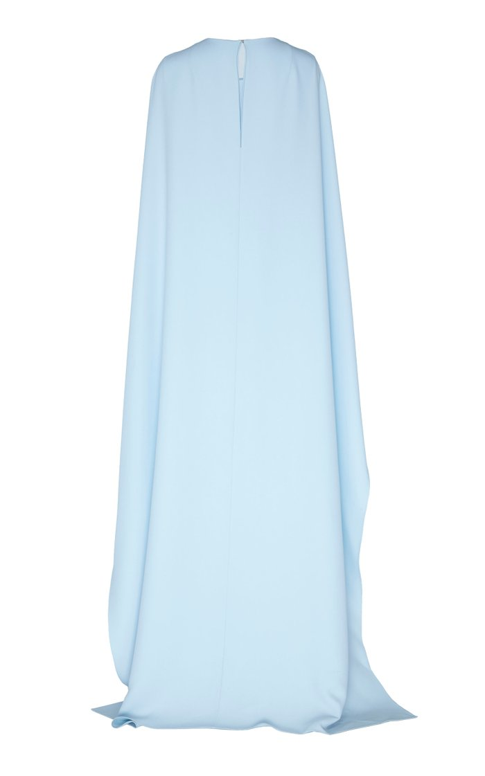 Cape-Effect Crepe Gown