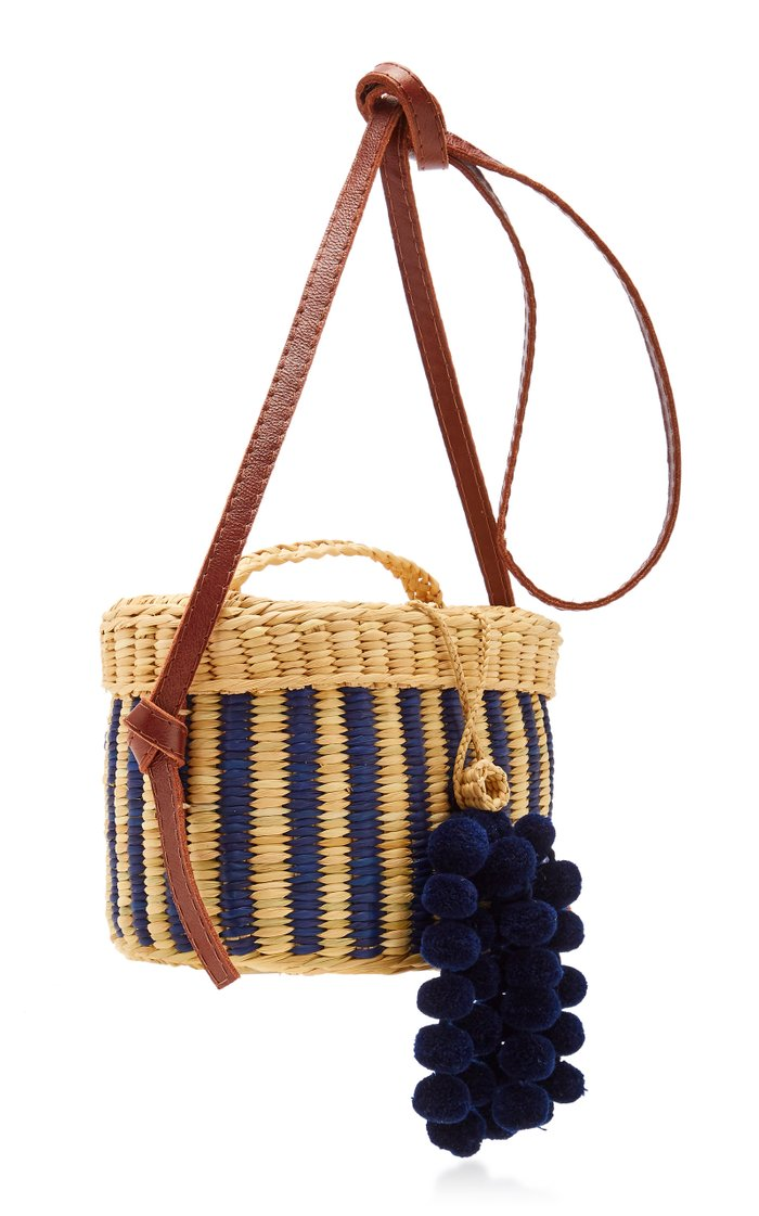 Kiki Small Striped Pompom-Embellished Raffia Shoulder Bag
