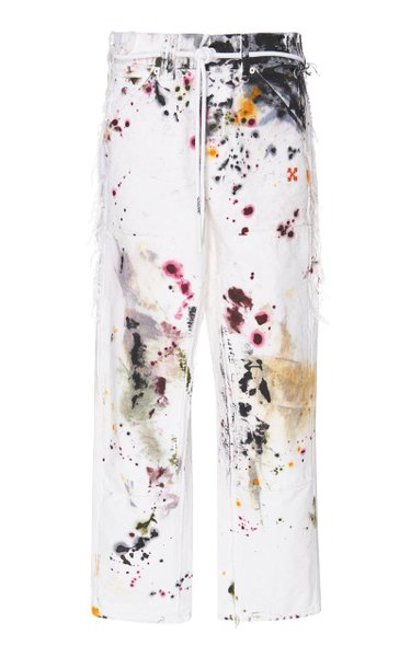 Distressed Belted Mid-Rise Straight-Leg Jeans