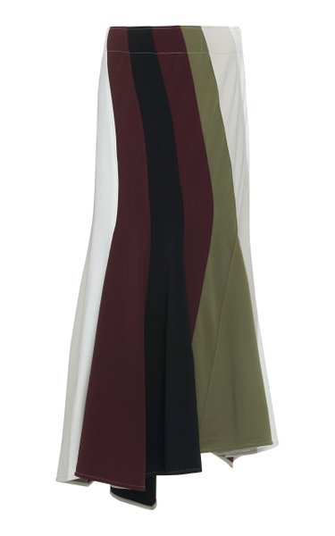 Striped Crepe Maxi Skirt