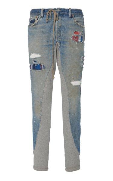 50/50 Cotton Jersey-Paneled Denim Track Pants