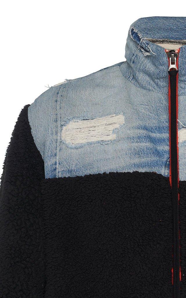 Denim-Paneled Tech-Fleece Jacket