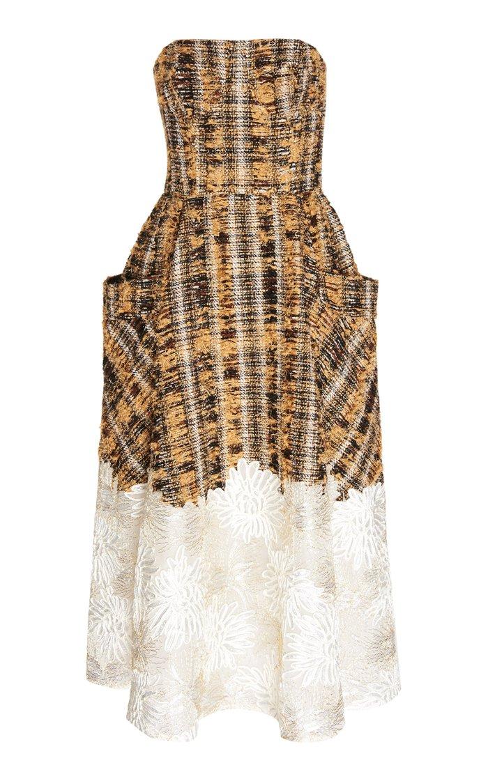 Victoria Strapless Printed Silk Midi Dress