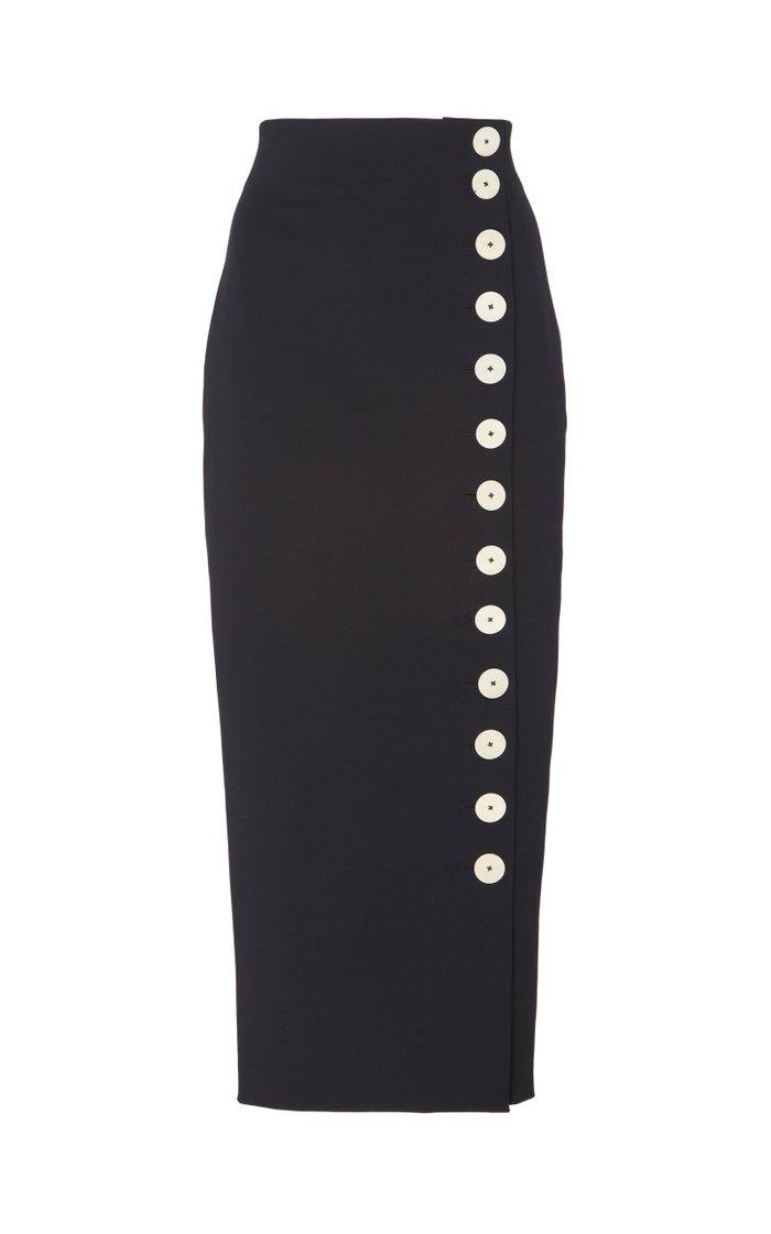 Button-Detailed Cotton-Blend Midi Skirt