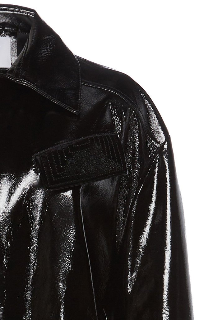 Tobacco Belted Patent Leather Trench Coat
