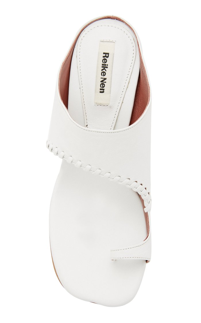 Turnover Cutout Leather Sandals