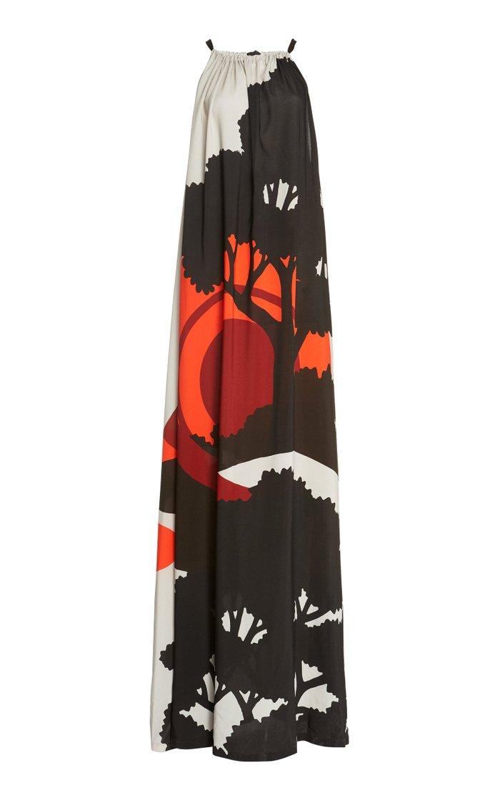 Sunrise Print Halter Neck Gown