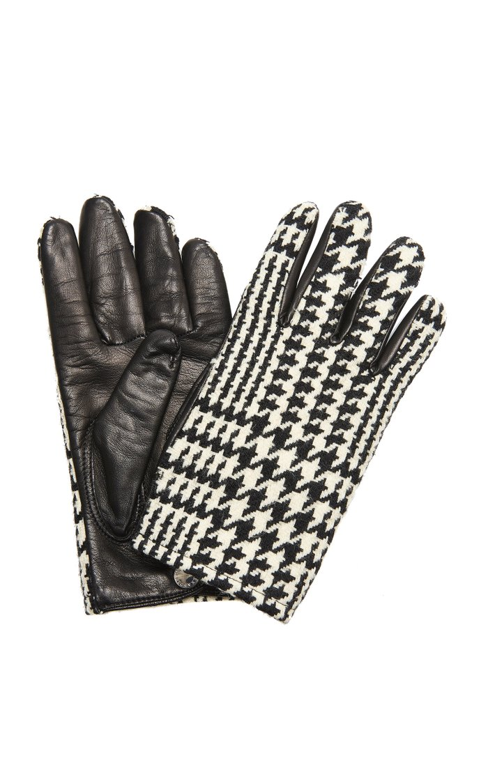 Houndstooth Cashmere and Leather Gloves