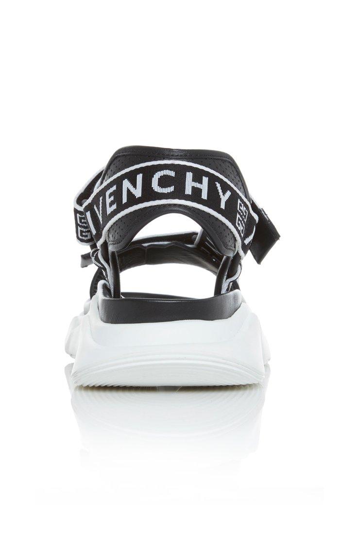 Jaw Logo-Jacquard Leather Sandals