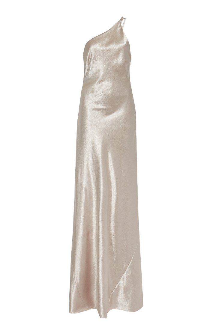 Roxy One-Shoulder Metallic Satin Gown