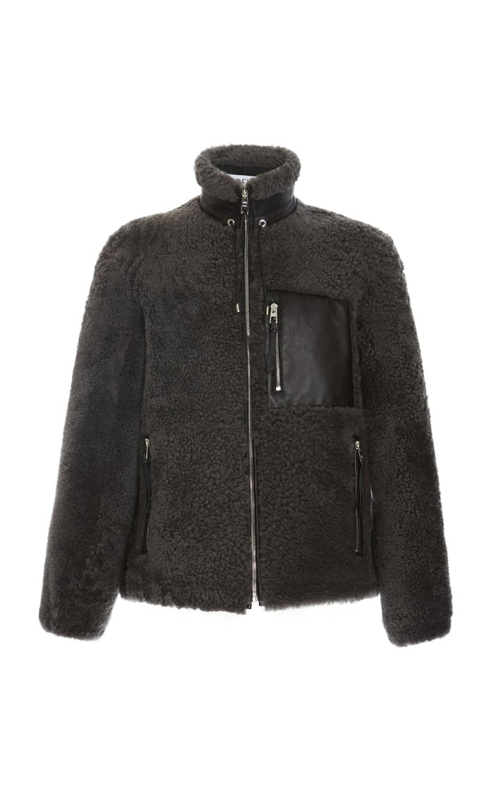 Leather-Trimmed Shearling Jacket