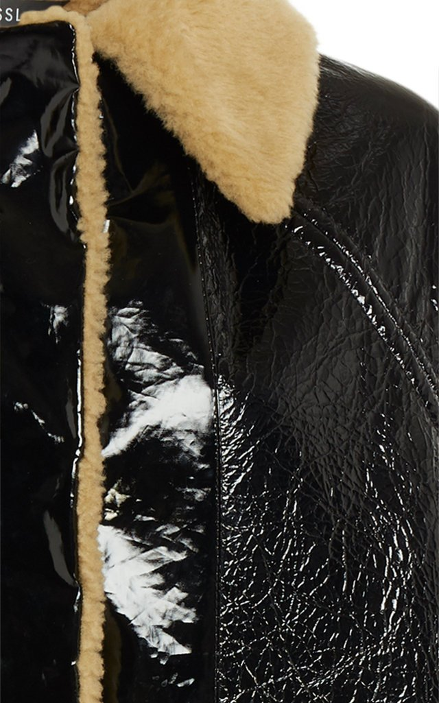 Reversible Patent Shearling Jacket