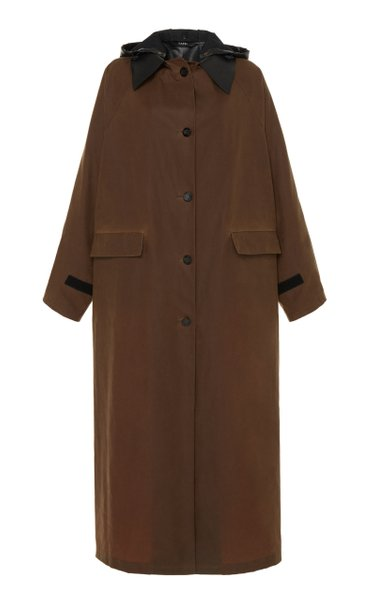 Hooded And Belted Cotton Trench Coat