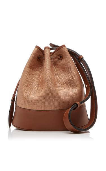 The Large Drawstring Leather and Fique Shoulder Bag