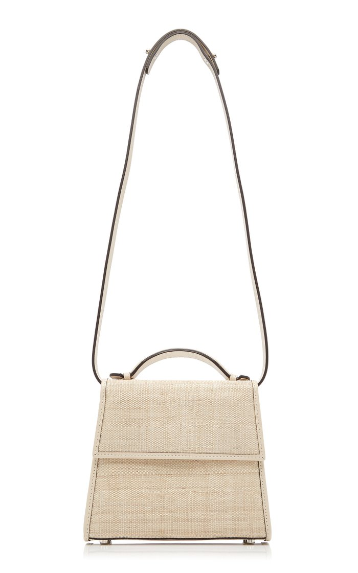 Leather-Trimmed Straw Tote