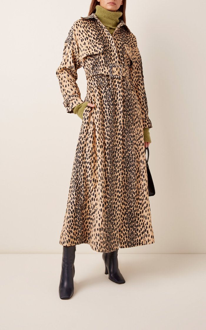 Belted Printed Cotton and Linen-Blend Trench Coat