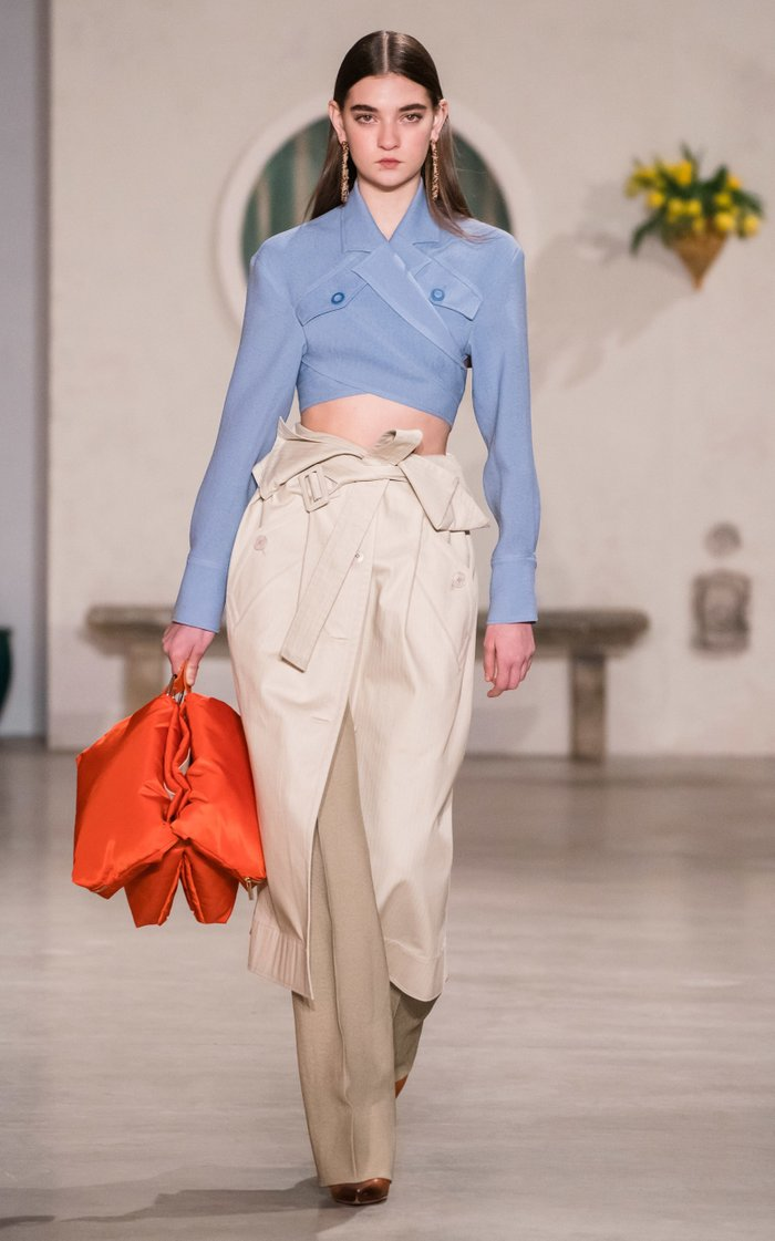 Collared Overlapping-Front Cropped Top