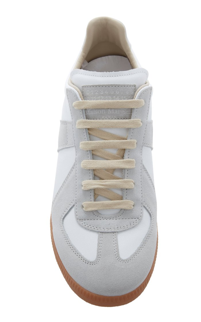 Replica Suede-Paneled Leather Low-Top Sneakers
