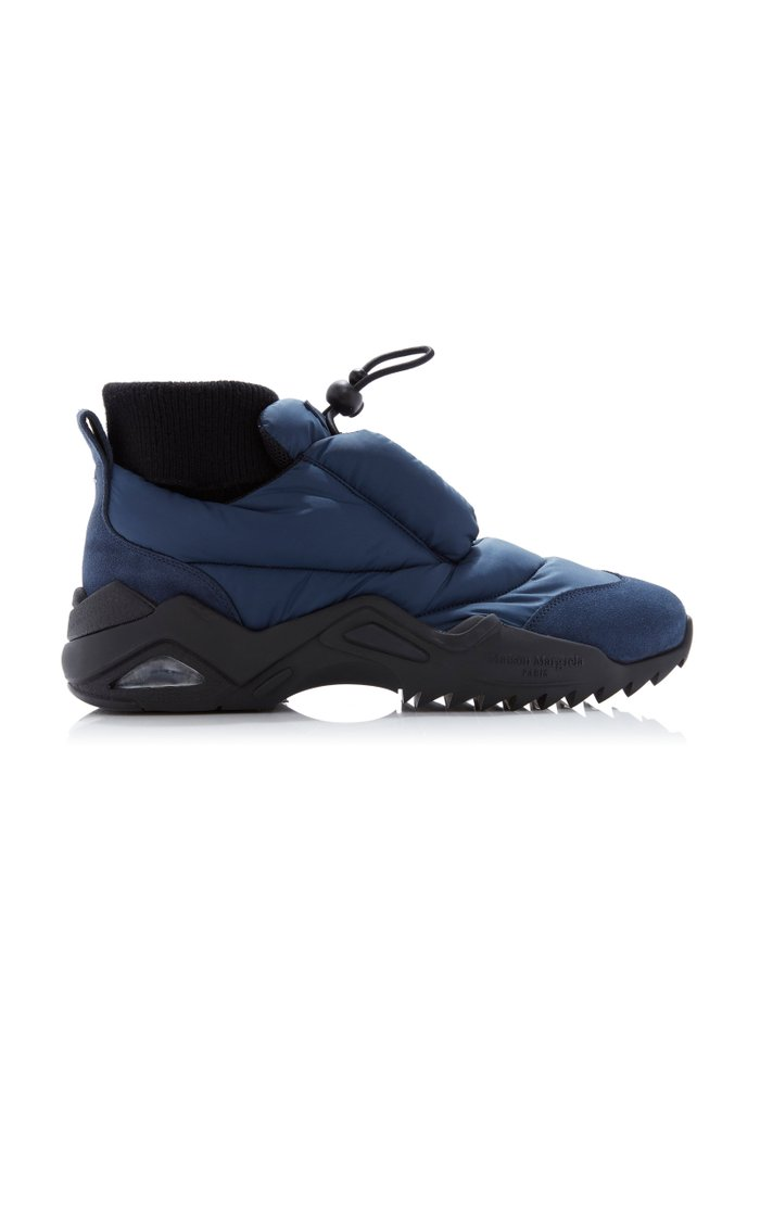 Suede-Trimmed Puffer Sneakers