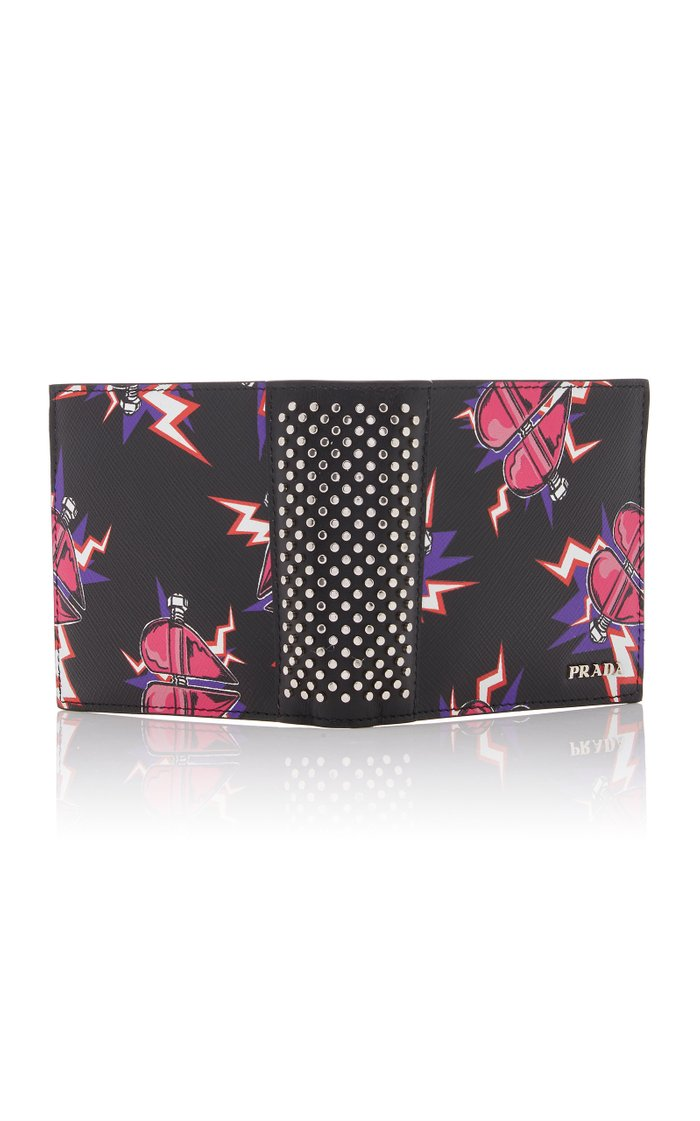Printed Textured-Leather Wallet
