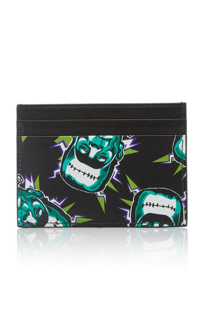 Printed Textured-Leather Cardholder