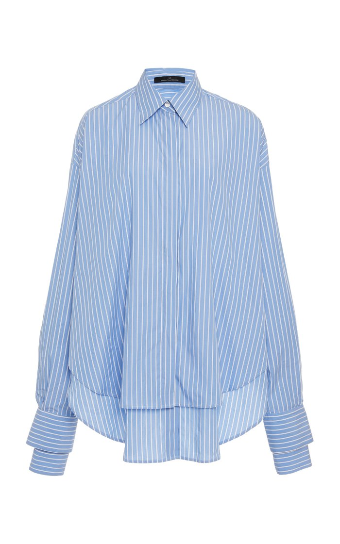 Dual Pinstriped Cotton-Poplin Button-Up Shirt