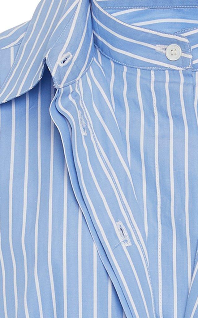 Dual Pinstriped Cotton-Poplin Button-Up Shirt