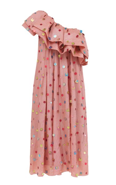Lila Ruffled One-Shoulder Silk Dress