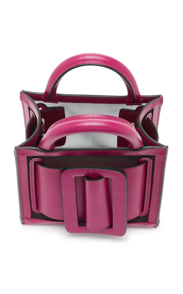 Bobby 16 Leather-Trimmed Mesh Tote