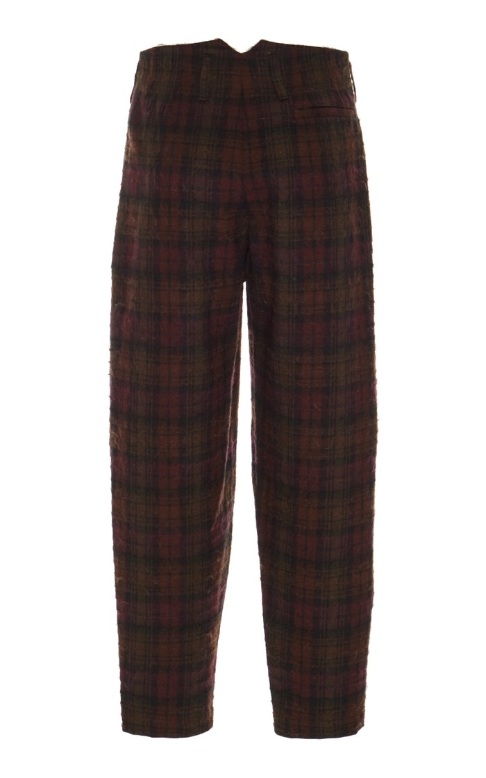 Pleated Plaid Wool And Mohair-Blend Pants