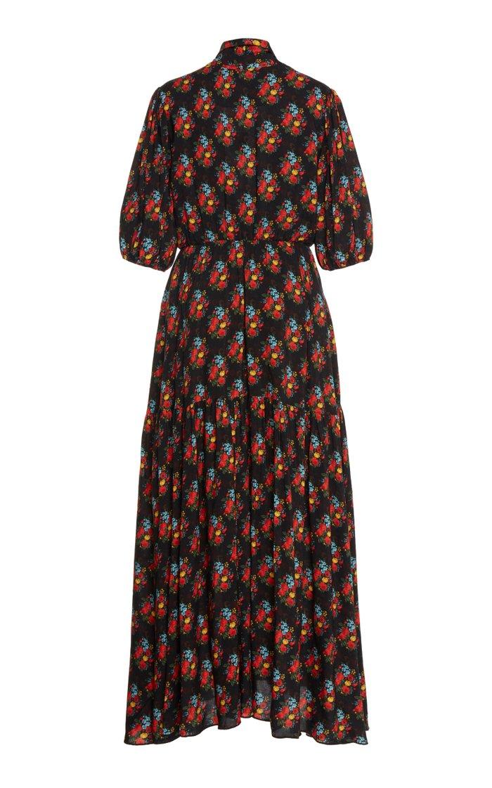 Floral-Print Crepe Midi Dress