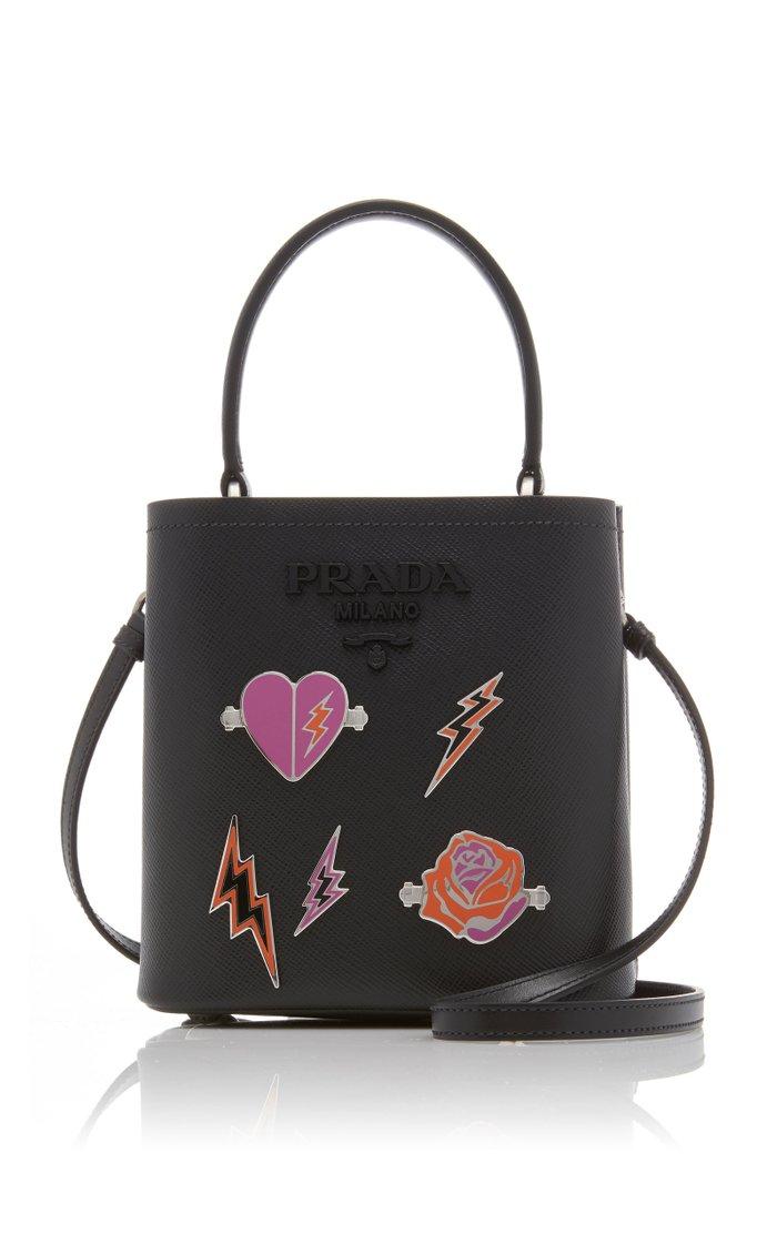 Mini Embellished Textured-Leather Bucket Bag