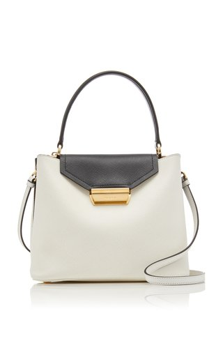 Two-Tone Textured-Leather Top Handle Bag