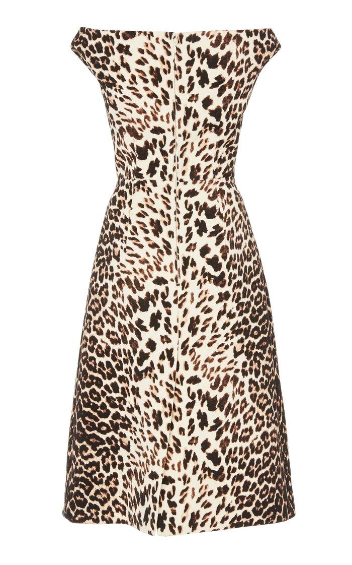 Off-The-Shoulder Gabardine Midi Dress