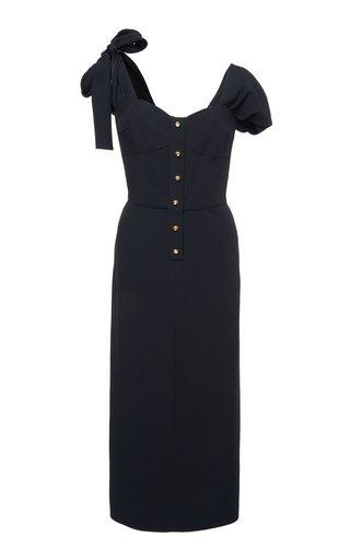 Tie-Detailed Satin-Crepe Midi Dress