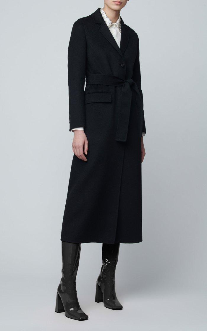 Belted Wool-Felt Coat