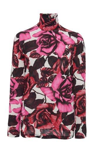 Floral-Print Georgette Turtleneck Top