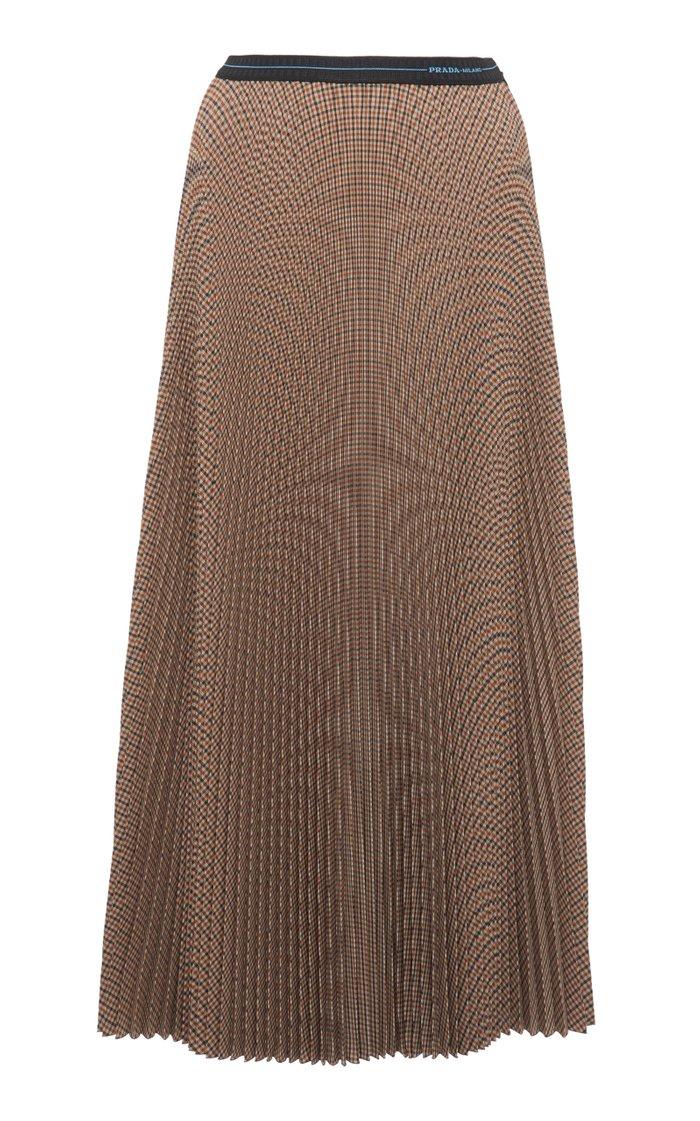 Checked Plisse-Crepe Midi Skirt