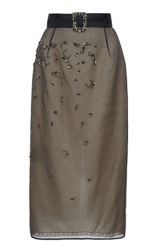 Embellished Organza Midi Skirt