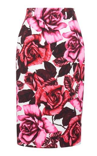 Floral-Print Crepe Skirt