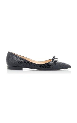 Croc-Effect Leather Point-Toe Flats
