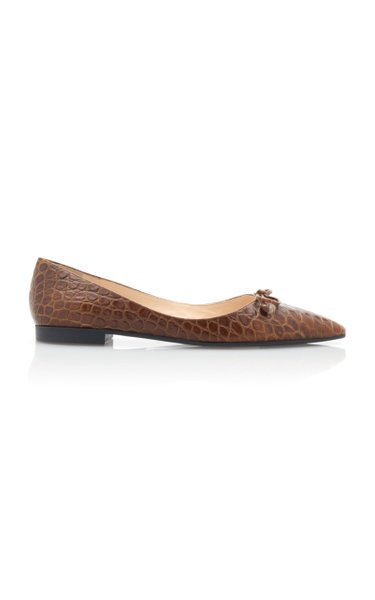 Croc-Effect Leather Point-Toe Flats