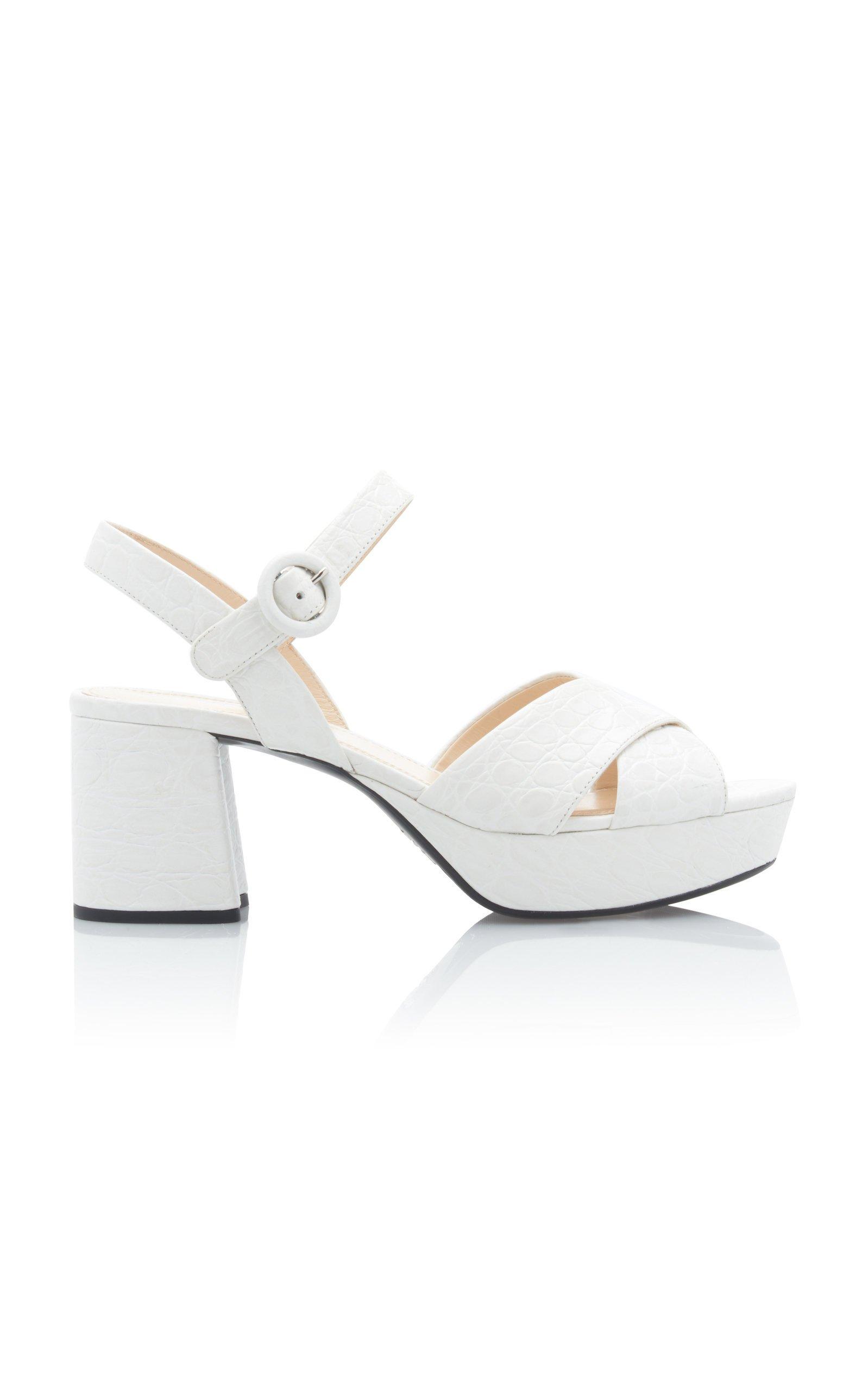 Croc-Effect Leather Platform Sandals By
