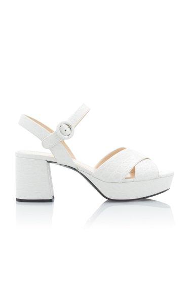 Croc-Effect Leather Platform Sandals